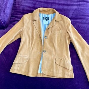 D&G by Dolce & Gabbana Tan SOFT Suede Jacket CUTE!